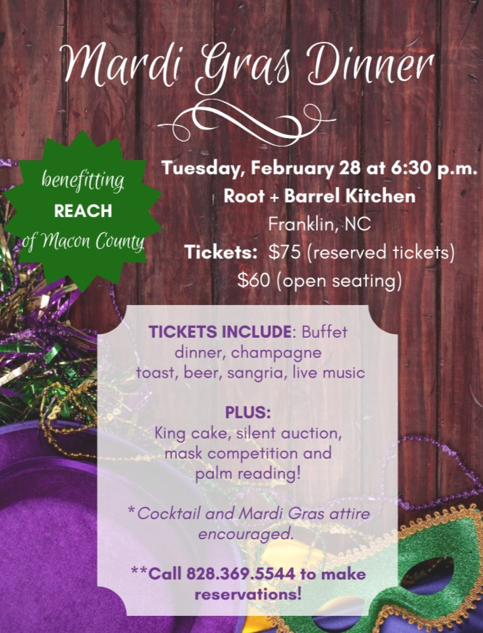REACH Mardi Gras Benefit  Poster provided courtesy REACH of Macon County