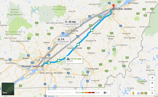 Como ir de Montreal a Quebec de carro