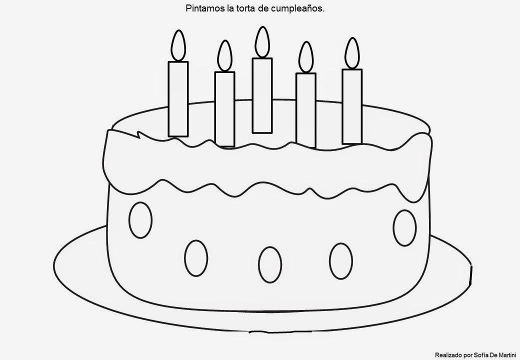 Dibuja Y Colorea Torta De Cumpleaños: Planeta Juegos: Pintamos La Torta De Cumpleaños