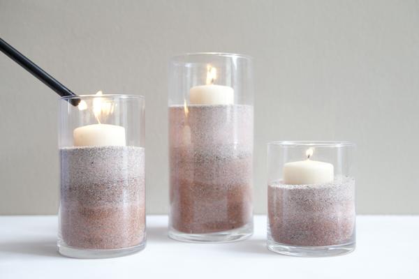 Βάζα με Κεριά διακοσμημένα με χρωματισμένη άμμο