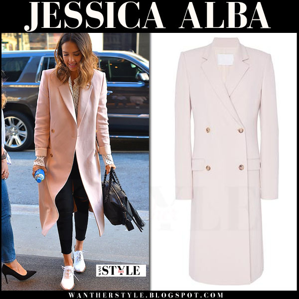 Jessica Alba in pink blush long caroline coat from brock collection what she wore spring streetstyle trend