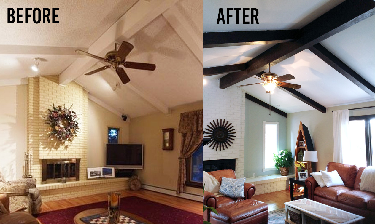 Painted Wood Ceilings Mimiberry Creations How Gel Stain Makes Painted Wood Beams Rustic