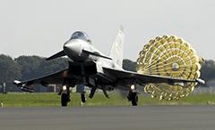 Typhoon fighter jet deploys a brake parachute