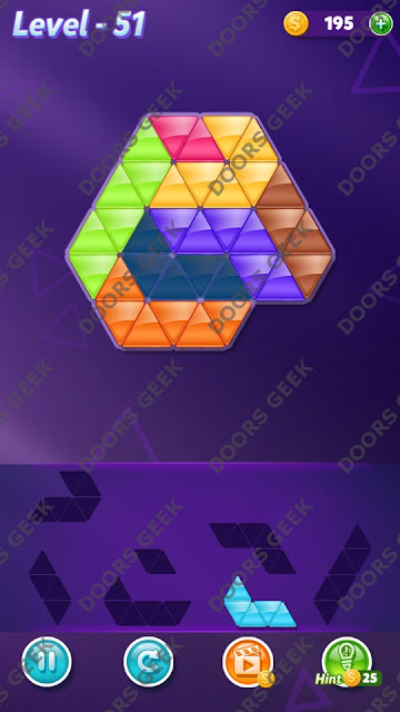 Block! Triangle Puzzle 7 Mania Level 51 Solution, Cheats, Walkthrough for Android, iPhone, iPad and iPod