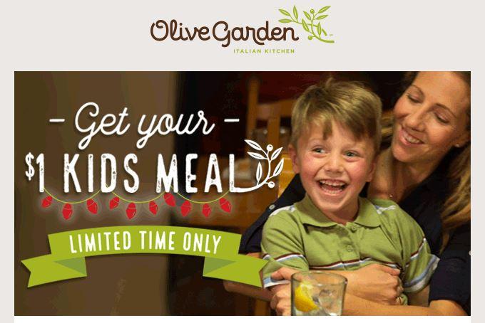 Arizona Families Olive Garden 1 Kids Meal Coupon