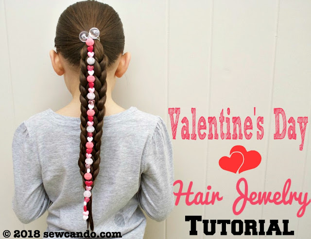 photo SewCanDoValentine's Day Hair Jewelry