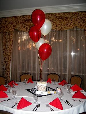 Centro de mesa hecho con caja de pop corn y globos.