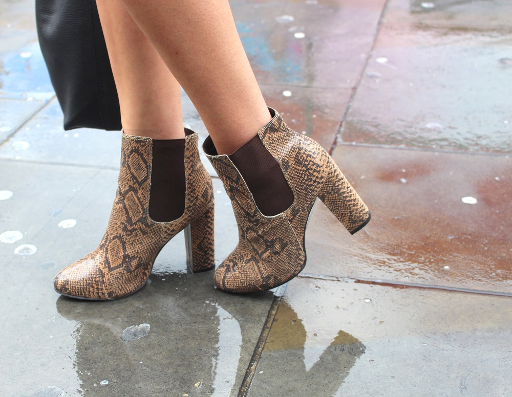 peexo fashion blogger lfw day 1 snake print boots rebel london asos