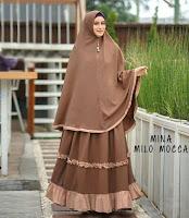 Jual Mina Syari gamis Bahan Amunzen Jilbab Bergo Soft Pad