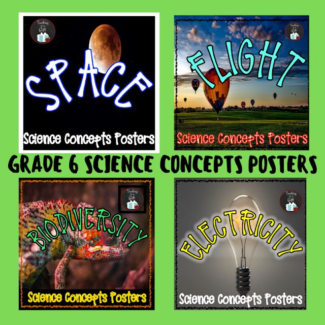 Picture of Grade 6 Ontario Science Concepts Posters Space Flight Biodiversity Electricity from Teaching Is A Gift on TpT
