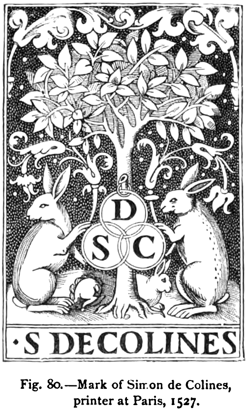 Mark of Simon de Colines, printer at Paris, 1525
