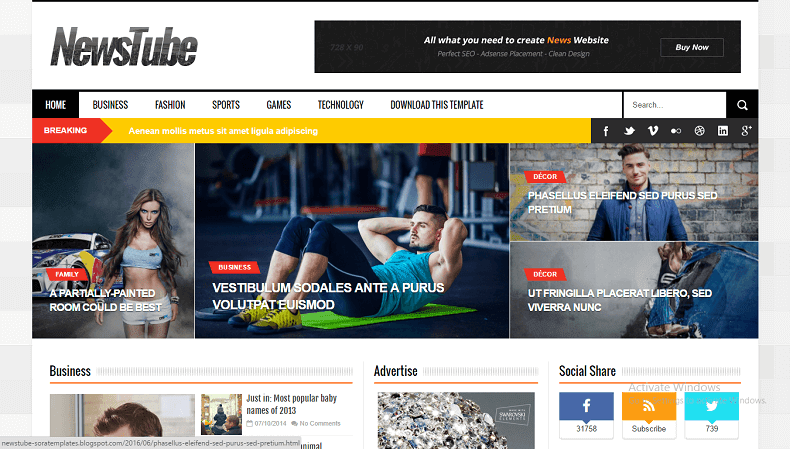 NewsTube Responsive Magazine Blogger Theme