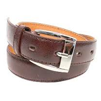 dark brown belt with buckle