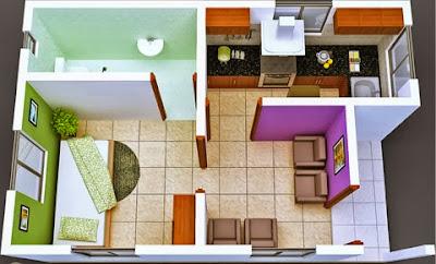 Konstruksi Rumah Minimalis: Denah Rumah Minimalis Type 21