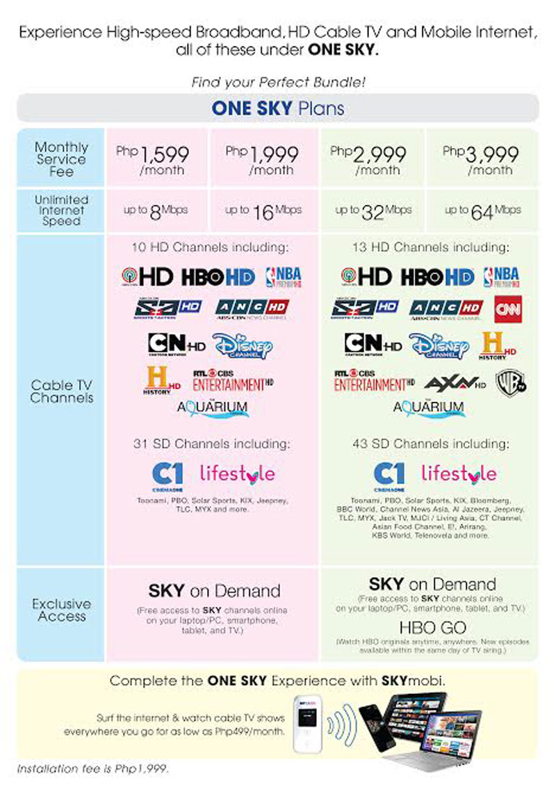 All SKYcable One Sky Subscription Plans
