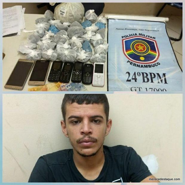Jovem é preso por tráfico de drogas em Santa Cruz do Capibaribe
