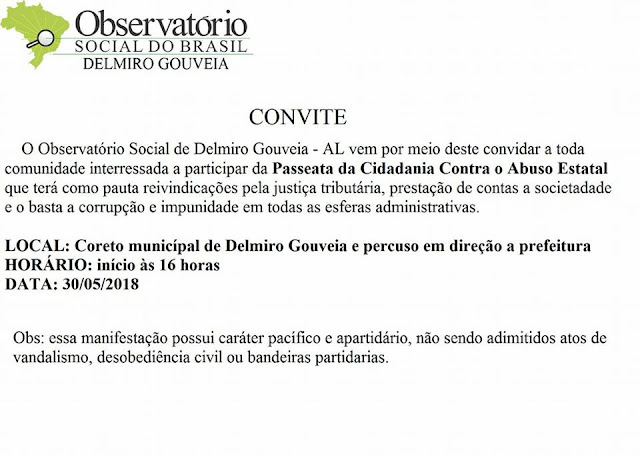 CONVITE: Em Delmiro Gouveia, participe da grande passeata da cidadania contra o governo Temer e o abuso estatal