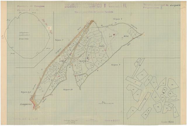Mapa Nacional Topográfico parcelario. Longares. 1939