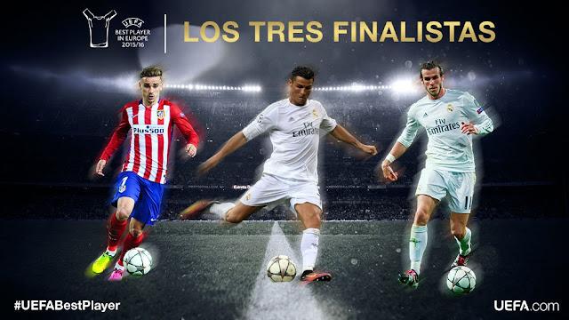 Cristiano - Bale - Griezmann, finalistas Mejor Jugador de la UEFA en Europa 2016