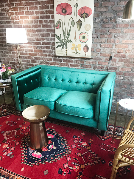ever bloom design, boutique shops memphis, choose 901, floral boutique, interior inspiration, green sofa