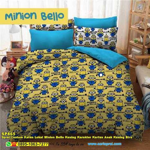 Sprei Custom Katun Lokal Minion Bello Kuning Karakter Kartun Anak Kuning Biru