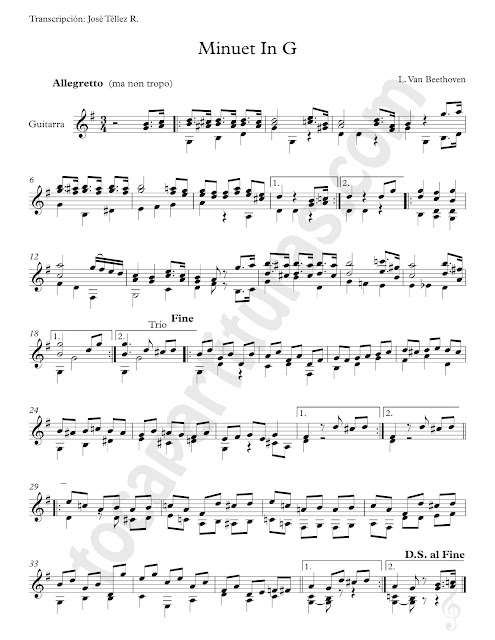 Partitura de Guitarra del Minueto en Sol Mayor del Maestro Ludwig Van Beethoven Minuet in G Guitar Sheet Music for Classical Guitarrists Allegretto ma non tropo