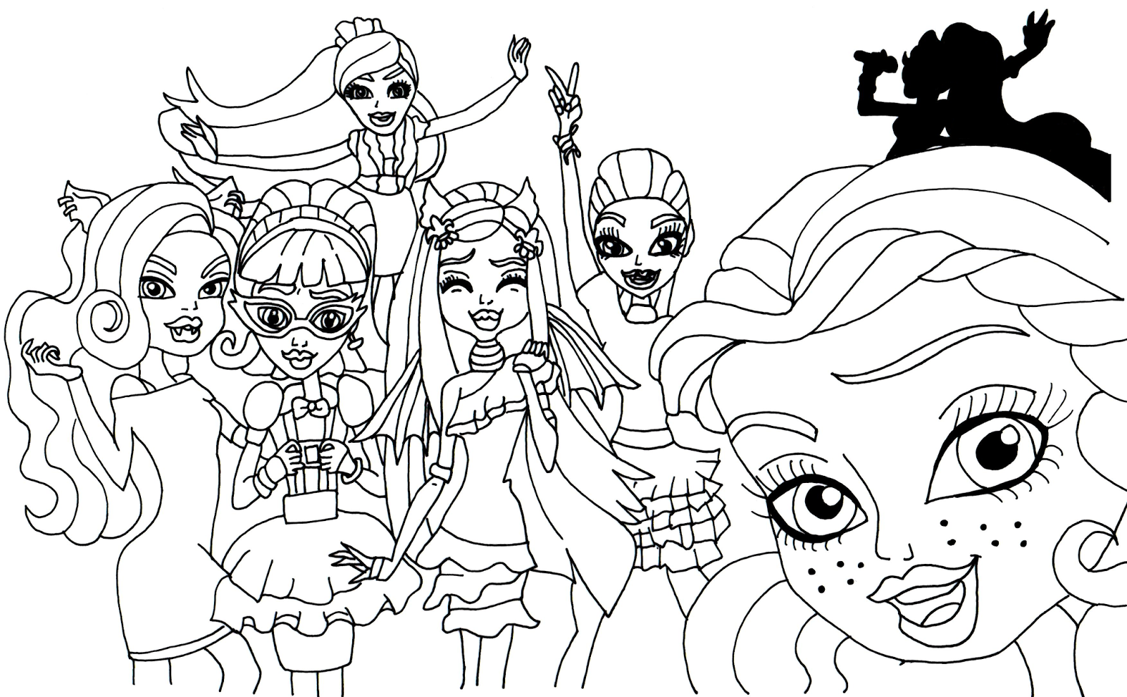 The gallery for monster high coloring pages catty noir for Monster high coloring pages to print out