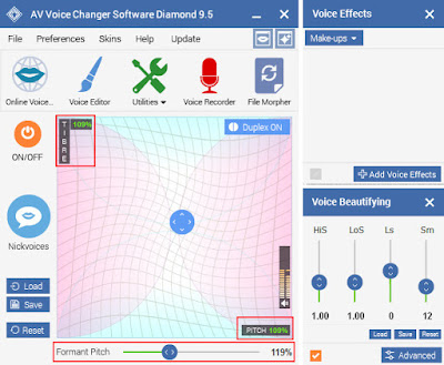 Pitch - Timbre graph of Voice Changer Software Diamond 9.5