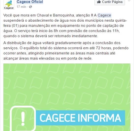 Comunicado da CAGECE para os moradores de Chaval e Barroquinha