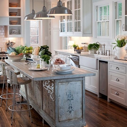 Rustic modern farmhouse kitchen with antique used as island