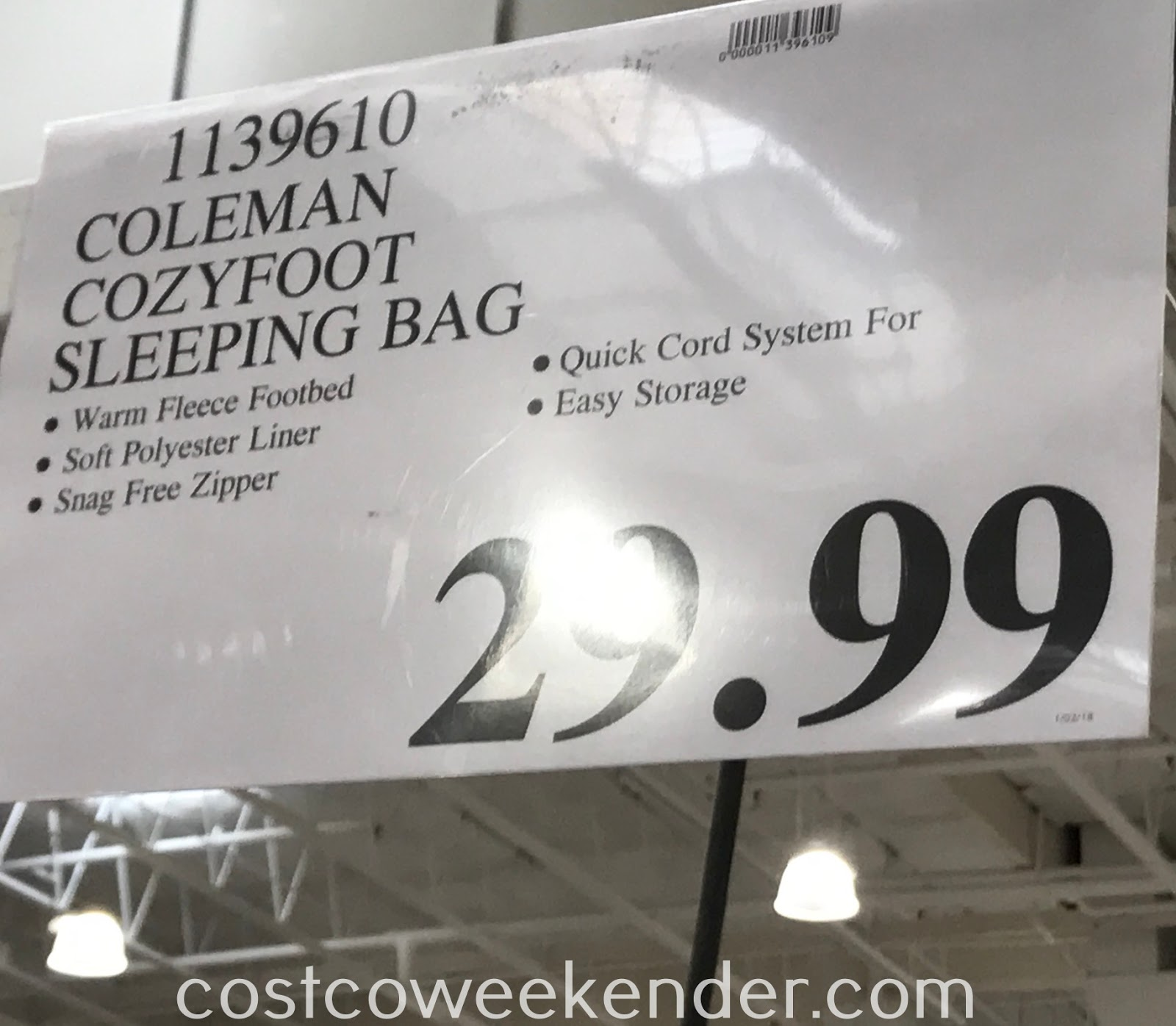 Deal for the Coleman CozyFoot Sleeping Bag at Costco