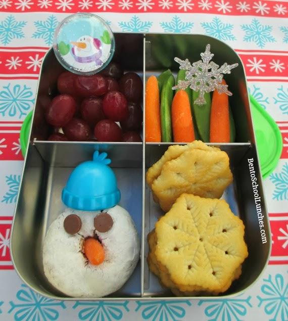 Snowman donut snack, Christmas bento