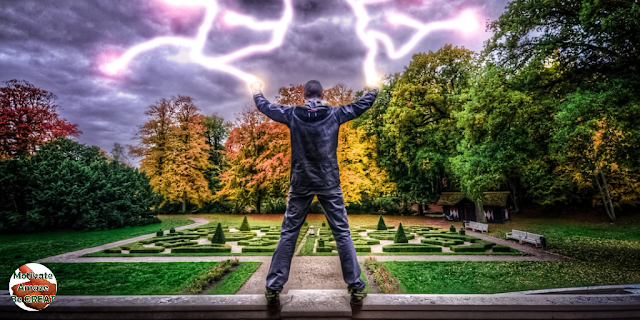 """Header image of the article: """"5 Magical Ways To Get Work Motivation And Conquer Your Goals"""". Man, magic, motivation, electricity, motivation, conquer, power."""