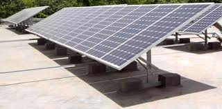 Picture shows solar PV modules in an installation