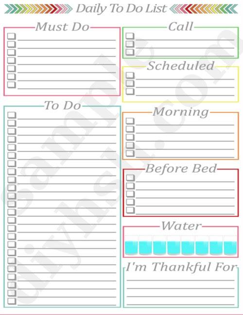 daily calendar half page