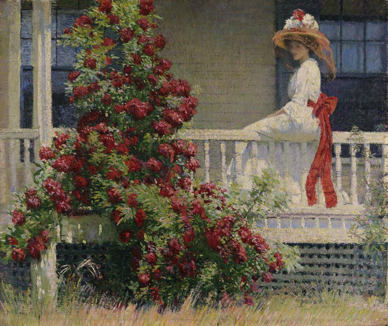PHILIP LESLIE HALE (1865-1931), THE CRIMSON RAMBLER, C. 1908. Impresionismo americano PENNSYLVANIA ACADEMY OF THE FINE ARTS, PHILADELPHIA, JOSEPH E. TEMPLE FUND, 1909.12