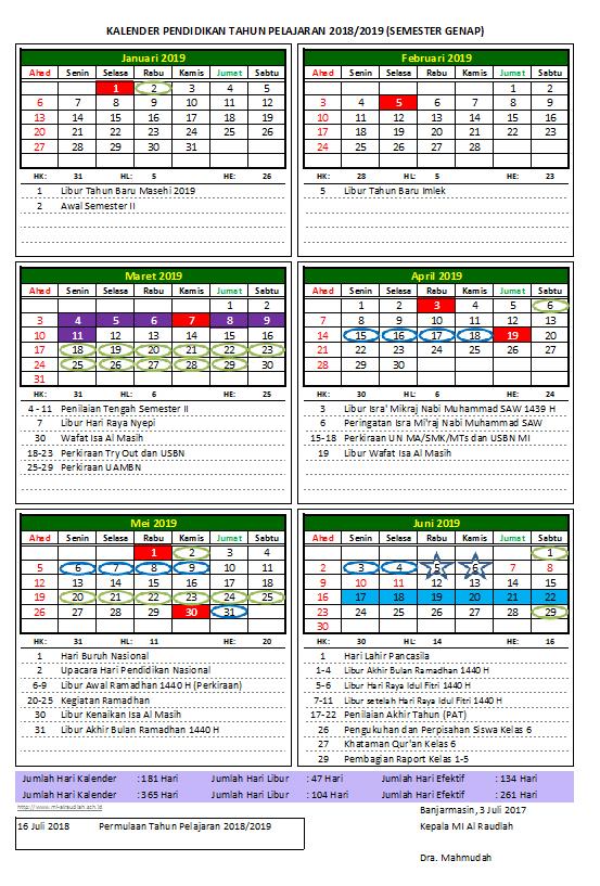 Kalender Pendidikan MI Al Raudlah Tahun Pelajaran 2018/2019