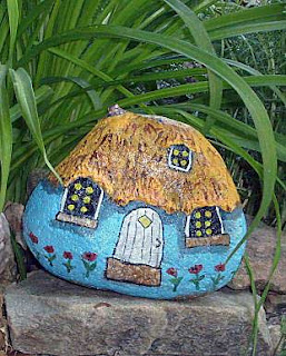 home, house, building, garden, gnome, painted rocks, rock painting