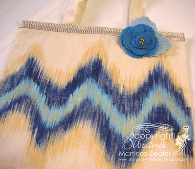 ikat pattern canvas bag with gold ribbon