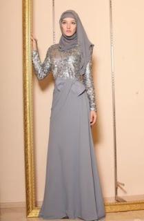 Baju brokat muslim elegan warna silver