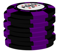 purple on black poker chip stack
