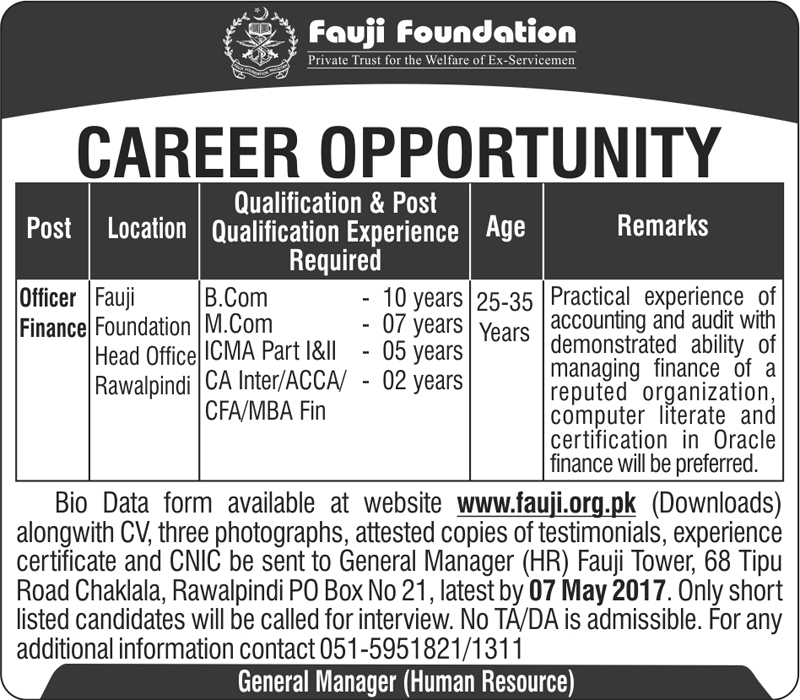 Officer Finance Jobs in Fauji Foundation Rawalpindi  23 April 2017