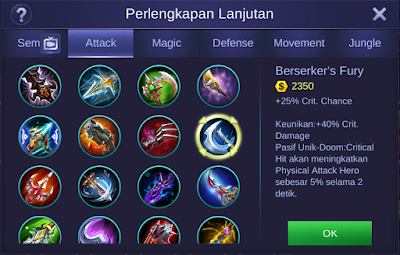 Berserker's Fury Item Mobile Legends