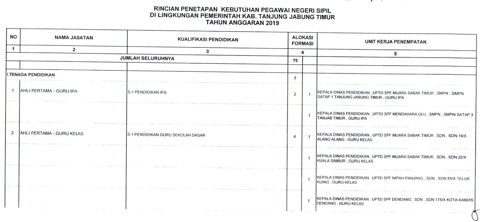 Download Formasi CPNS Kabupaten Tanjung Jabung Timur Provinsi Jambi Tahun 2019