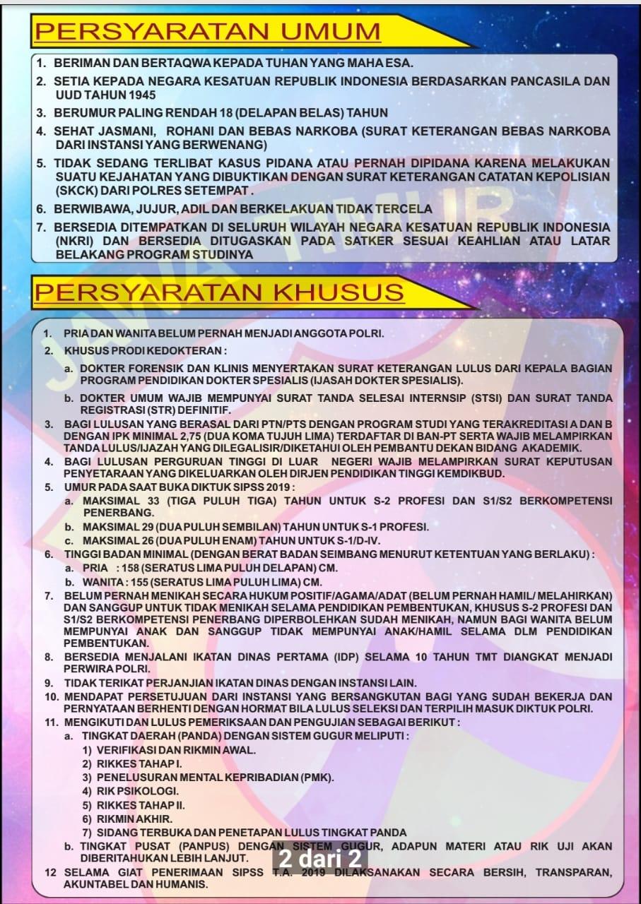 Syarat Pendaftaran Penerimaan Sekolah Inspektur Polri Sumber Sarjana