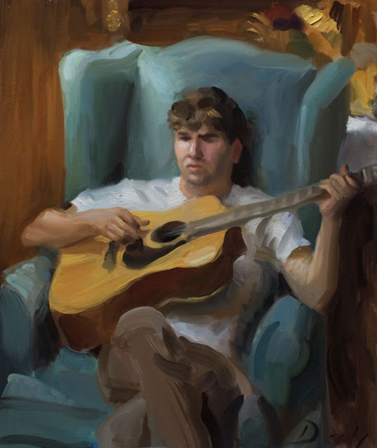 The Guitarist, Joseph Daily, International Art Gallery, Portrait Fine Arts, American Painters