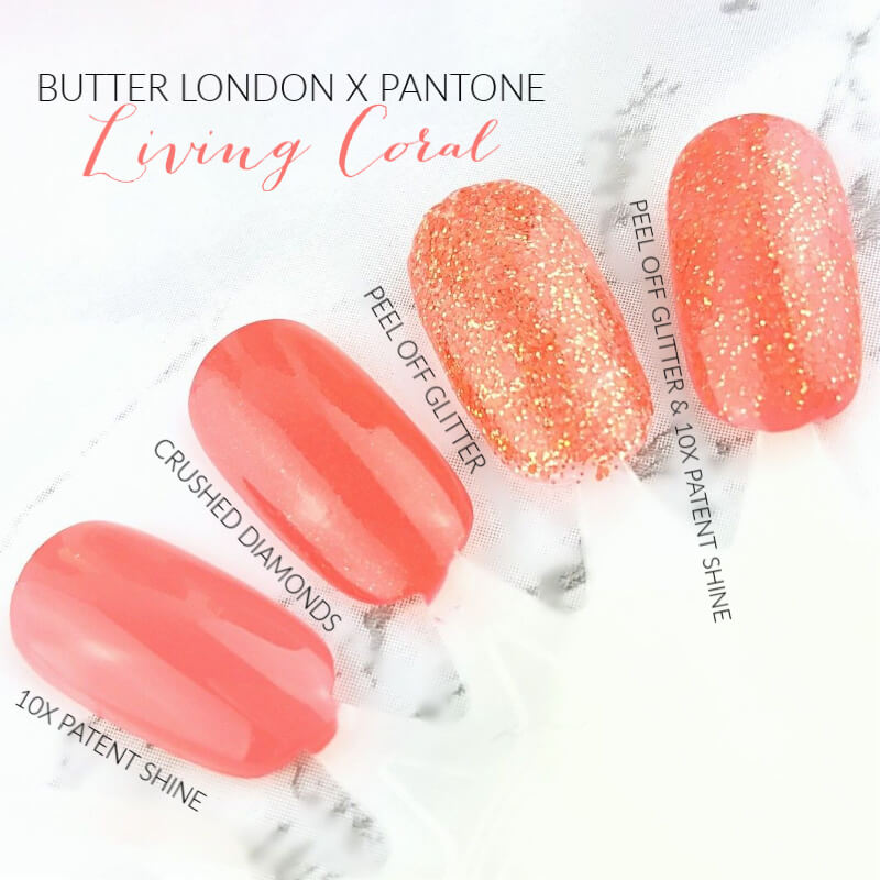 butter london x pantone color of the year 2019 living coral nail lacquer collection swatches 2