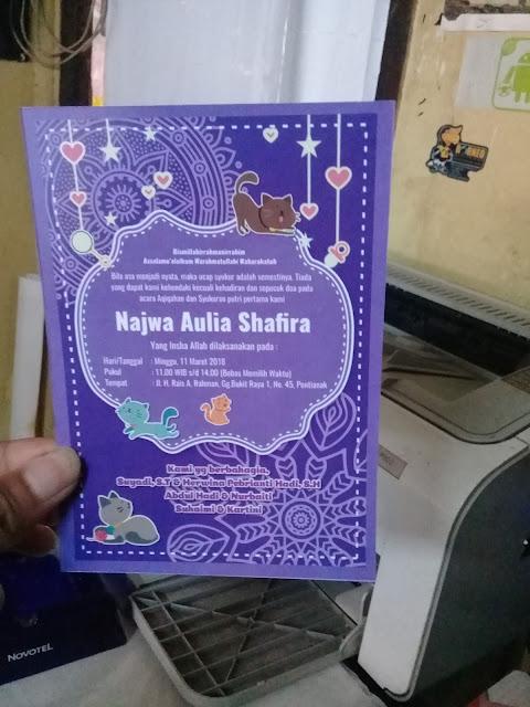 Undangan Aqiqah Purple Ornament Corel Draw Hasil Cetak Belakang