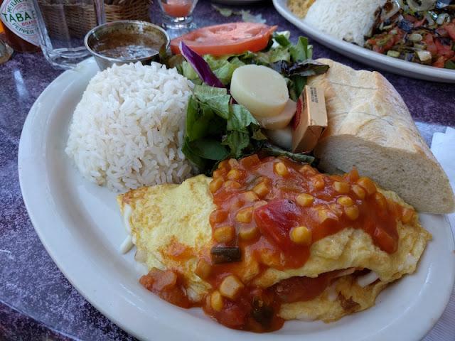 Omelette Brasileiro (chicken, mozzarella, corn) at Cafe Brasil in Santa Cruz