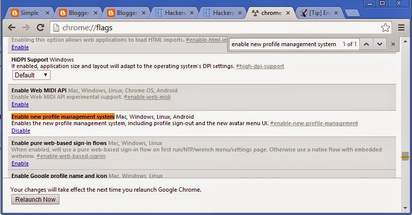 Enable Secret Profile Manager in Google Chrome